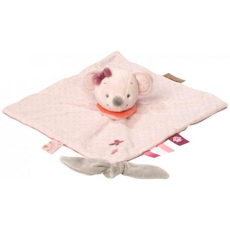 doudou plat souris rose